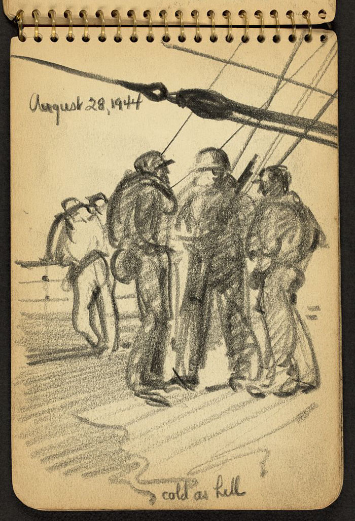 21-Year-Old WWII Soldier's Sketchbooks Show War Through The Eyes Of An Architect - Cold As Hell. Soldiers On Deck Of Ship