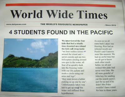 Room 10 Tokoroa Intermediate: Survival Island     we get rescued!