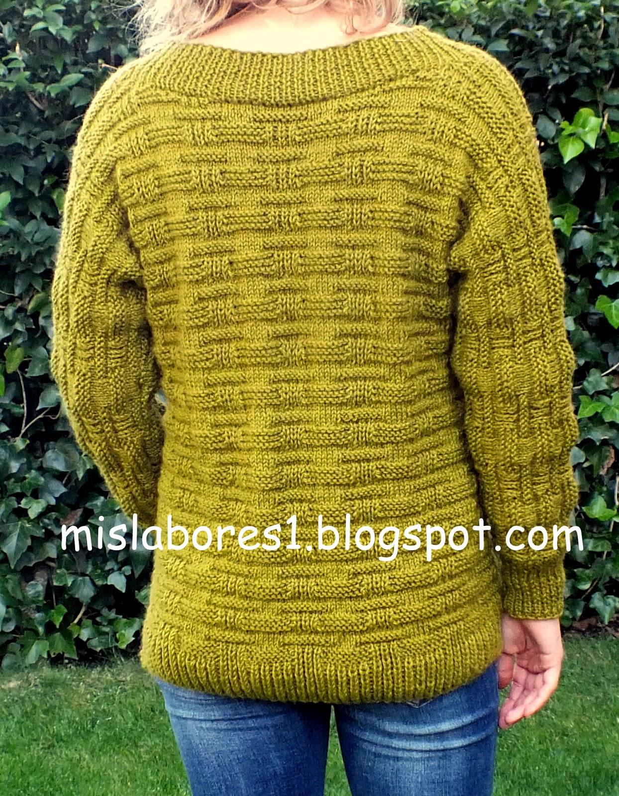 Mis labores jersey de lana con el escote en pico - Labores de punto de lana ...