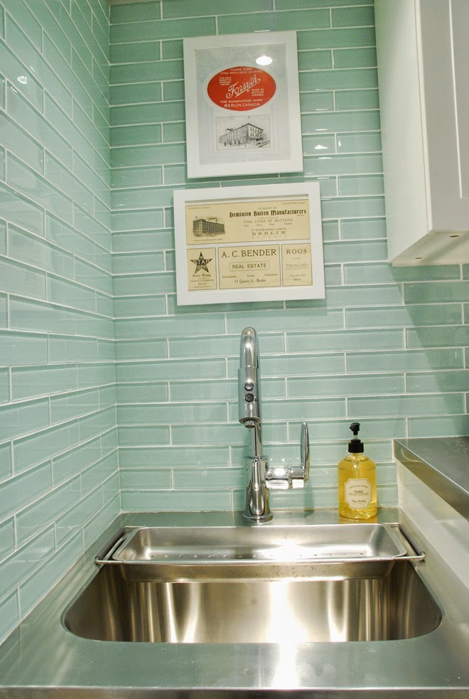 aqua turquoise glass tile laundry room sink