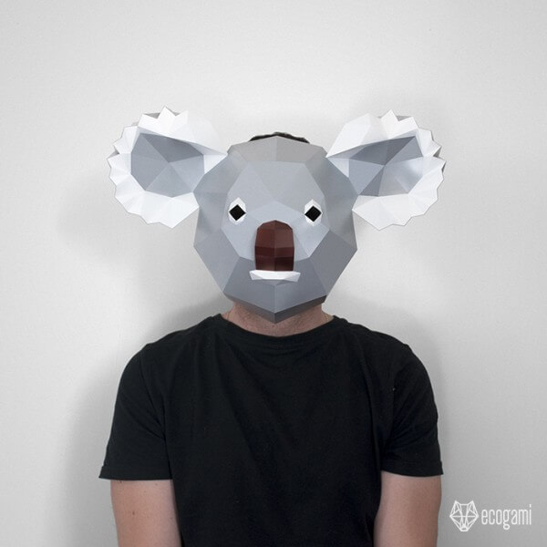 koala folded paper mask sculpture