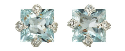 Aquamarine Diamond stud earrings by Cathy Waterman