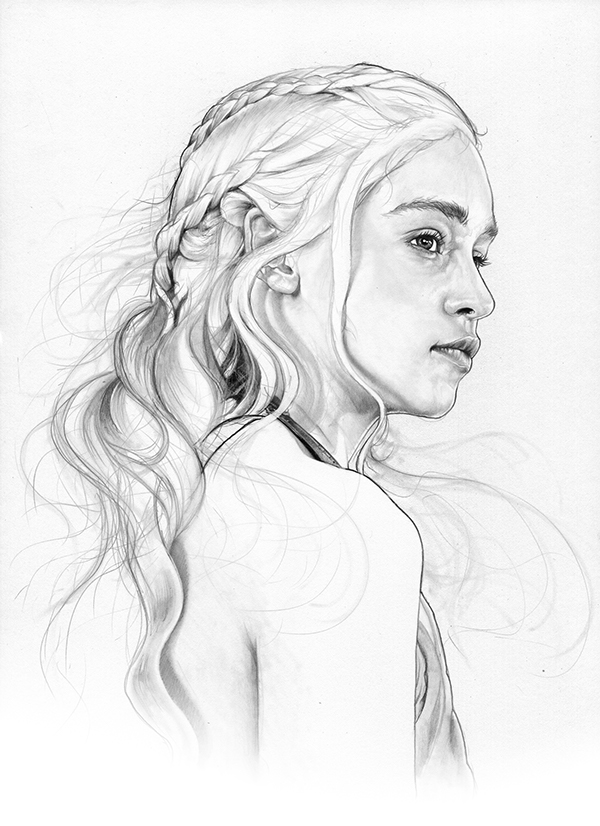 01-Emilia-Clarke-Daenerys-Targaryen-Khaleesi-Corbyn-S-Kern-Game-of-Thrones-Star-Trek-and-Star-Wars-Character-Drawings-www-designstack-co
