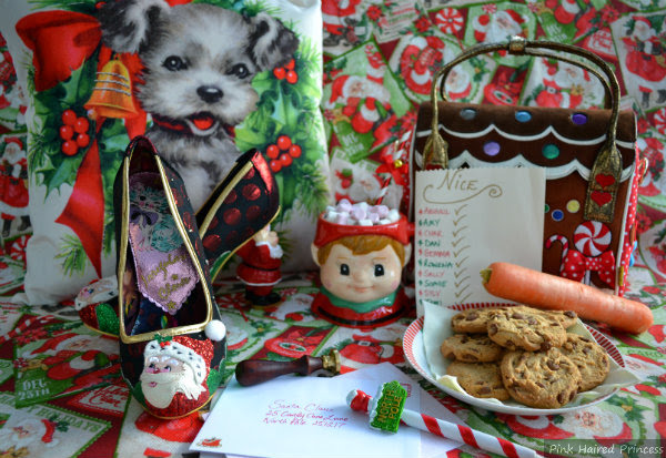 festive shoes in Christmas scene with cookies, carrot and nice list