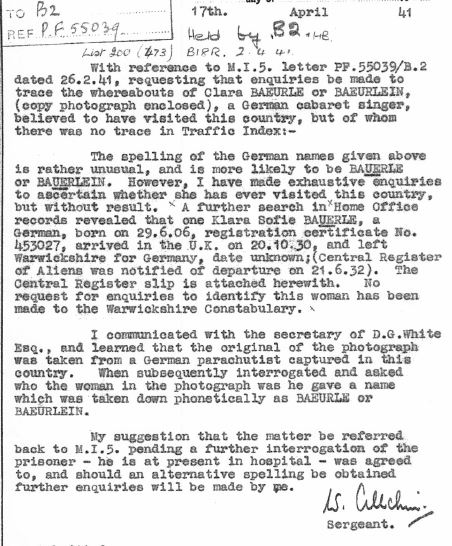 April 17, 1941 (received by MI5 on May 1, 1941) - KV 2/25 - 75a - Special Branch report on Clara Bauerle and Klara Sophie Bauerle by Sgt. W. Allchin.