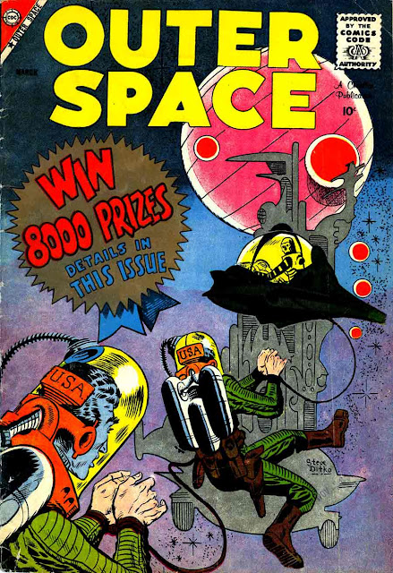 Outer Space v1 #21 charlton sci-fi comic book cover art by Steve Ditko