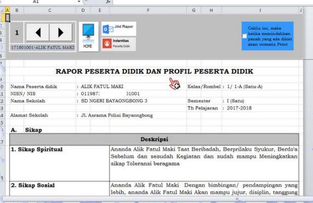 Aplikasi Raport Kelas 5 K13 Revisi 2017 Excel