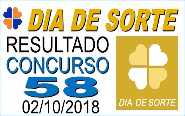 Resultado do Dia de Sorte concurso 58 de 02/10/2018 (Imagem: Informe Notícias)