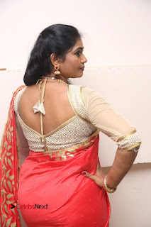 Actress Jayavani Stills in Red Saree at Intlo Deyyam Nakem Bhayam Trailer Launch .COM 0080.JPG