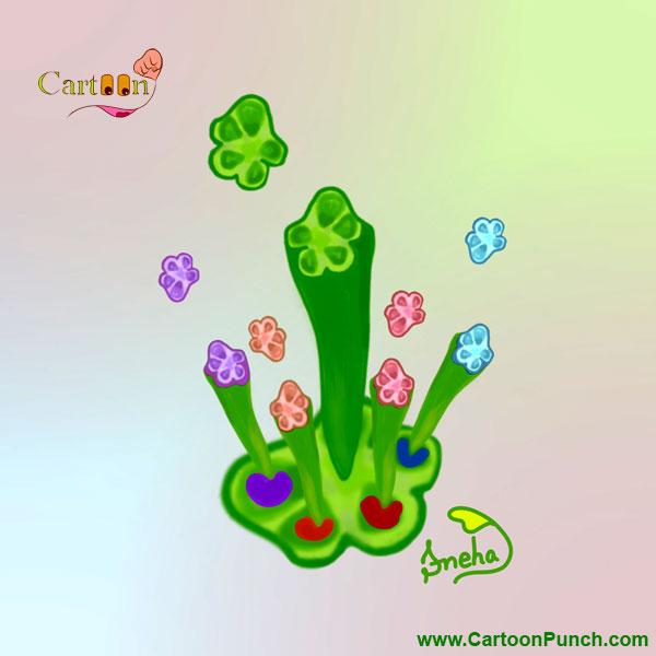 lady finger vegetable color palette illustration