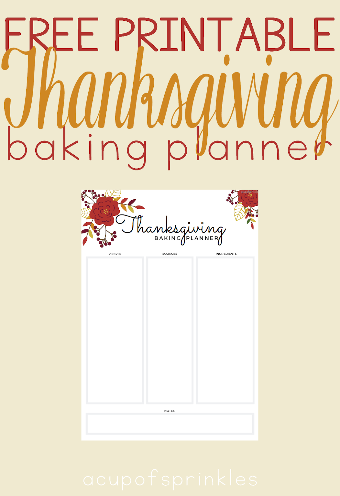 Free Printable Thanksgiving Baking Planner