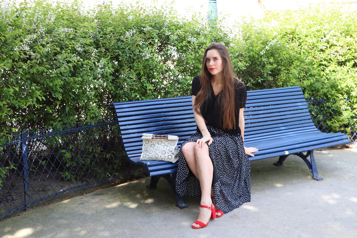 jupe longue plissée à pois 5