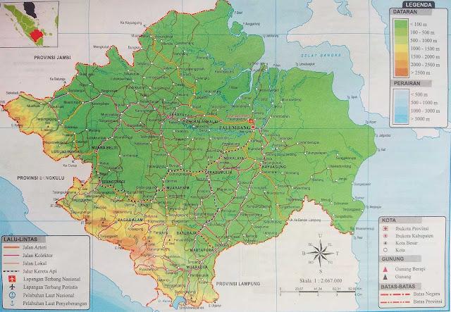Gambar Peta Atlas Provinsi Sumatera Selatan