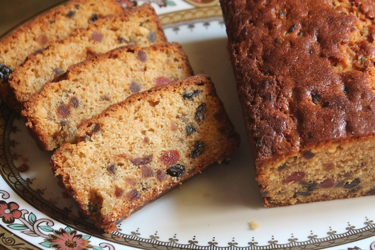 Eggless Mixed Fruit Cake Recipe