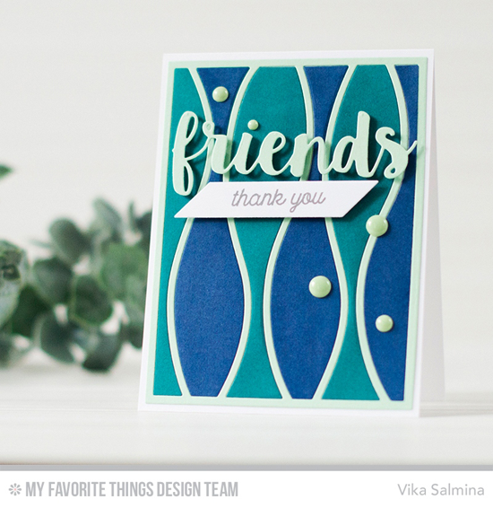Handmade card from Vika Salmina featuring Friends, Horizontal Snow Drifts Cover-Up, and Chevron Segments Cover-Up Die-namics #mftstamps