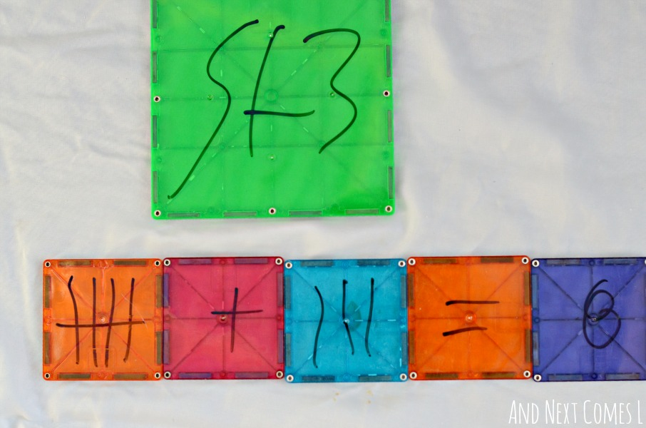 Adding tally marks on Magna-Tiles from And Next Comes L