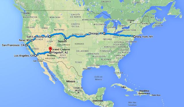 Roteiro - Travessia dos EUA de trem