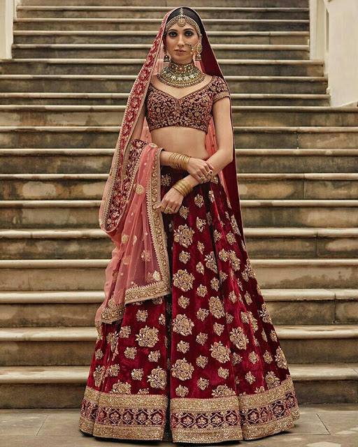 Maroon Color Velvet Bridal Lehenga with Golden Ari Work