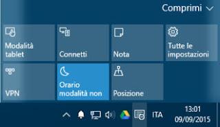 usare o disattivare notifiche windows 10