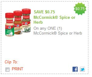 McCormick Spices Printable Coupon. Mar $ Off Any Five McCormick Spices or Herbs! Get $ in savings on your favorite spices and herbs from McCormick with Printable Coupons! Prepare scrumptious food that your family will absolutely love without spending a fortune! Get $ off two McCormick Herbs or Spices with Printable.