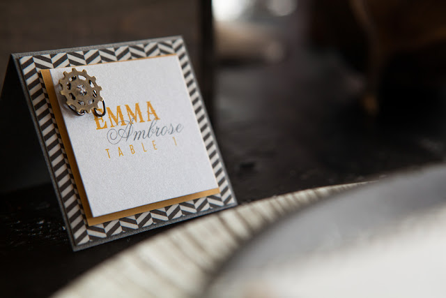 steampunk+yellow+gear+gears+grey+gray+white+rustic+woodland+modern+hipster+unique+centerpiece+cake+wedding+bride+bridal+gown+dress+boutonniere+brian+macstay+photography+4 - Modern Industrial