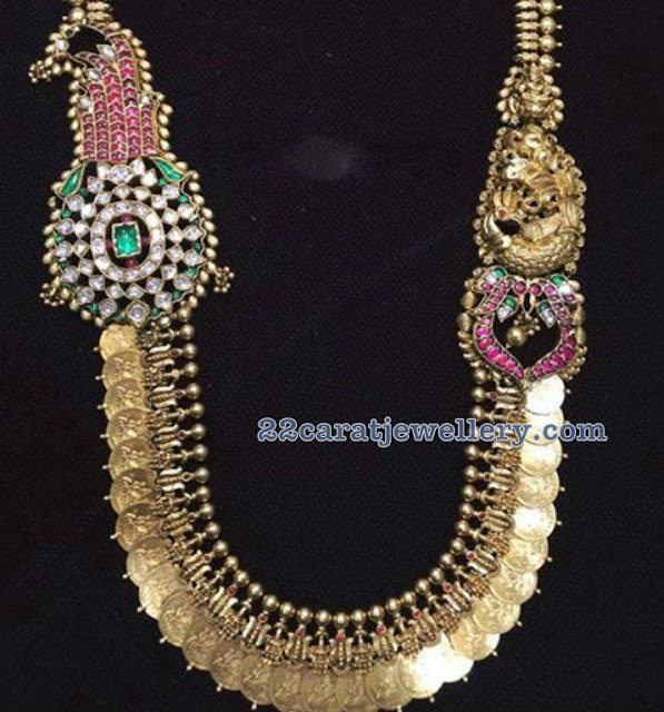 Trendy Kasu Mala with Side Peacock Motifs