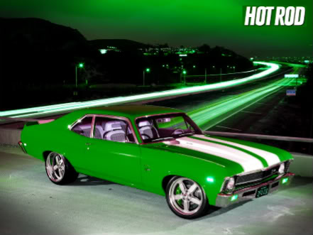 Green Muscle Car