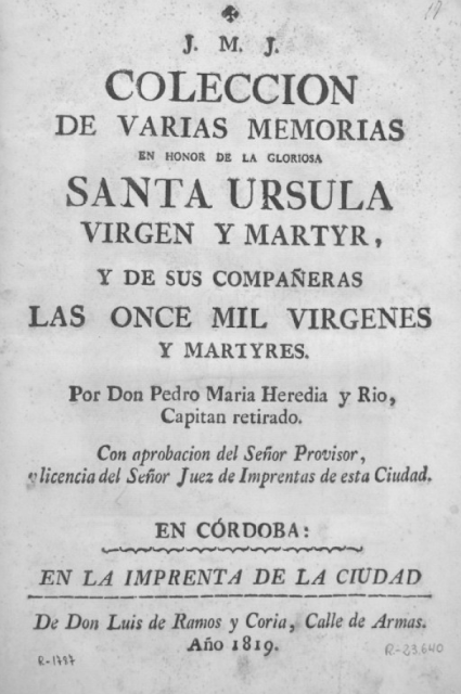 Collección de memorias en honor a Santa Ursula 1819