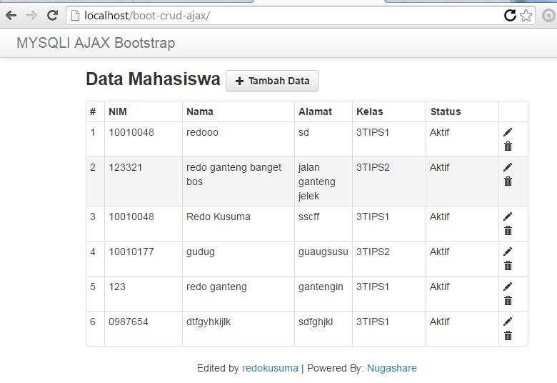 CRUD AJAX PHP MySQLI Design Bootstrap