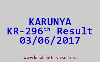 KARUNYA Lottery KR 296 Results 3-6-2017
