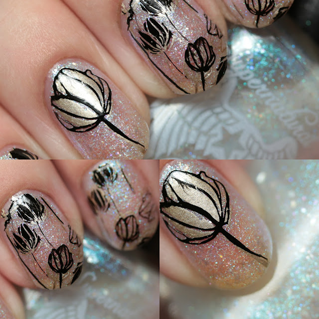 Floral Stamping with Supernatural Lacquer, Powder Perfect Stamping Polishes, and Born Pretty Store BPL-029