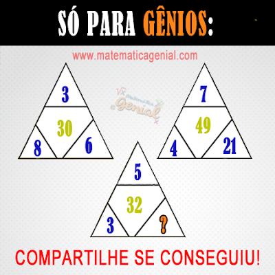 Só para gênios - desafio dos triângulos - qual número falta?