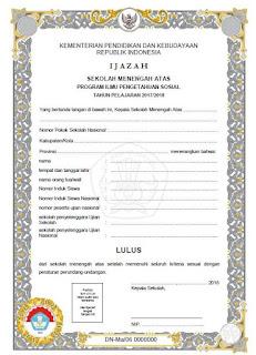 Blangko Ijazah SMA 2018 Kurikulum 2006, Jurusan IPS