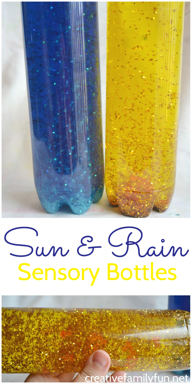 Make easy sensory bottles inspired by the sun and the rain.