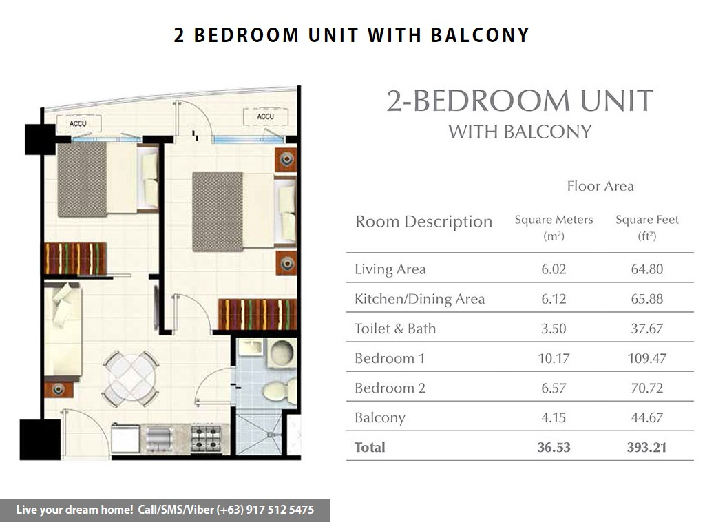 Floor Plan of SMDC South Residences - 2 Bedroom With Balcony | Condominium for Sale SM Southmall Las Pinas