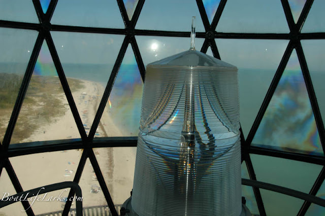 Cape Florida lighthouse lens and beach