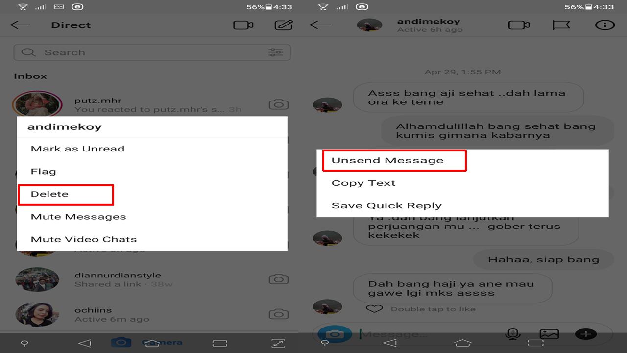 Cara Menghapus Pesan/Obrolan di Instagram, Sebagian atau Seluruhnya