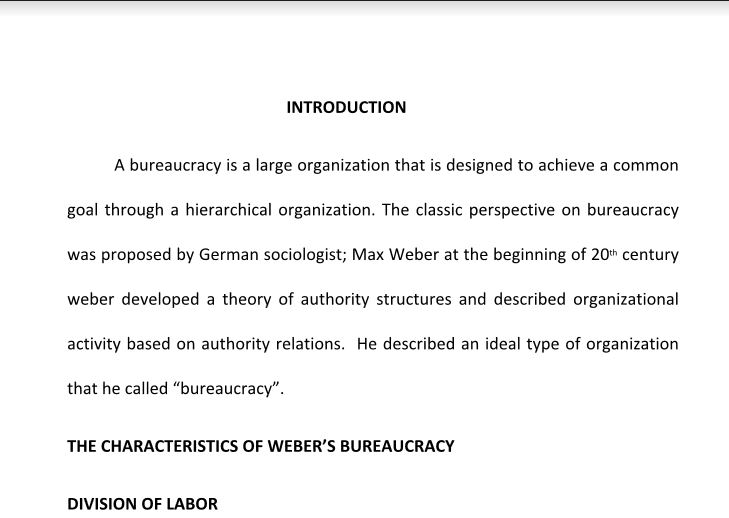 An overview discuss the characteristics of bureaucracy for 6 characteristics of bureaucracy