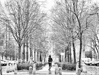 jogging in the snow black white street photography