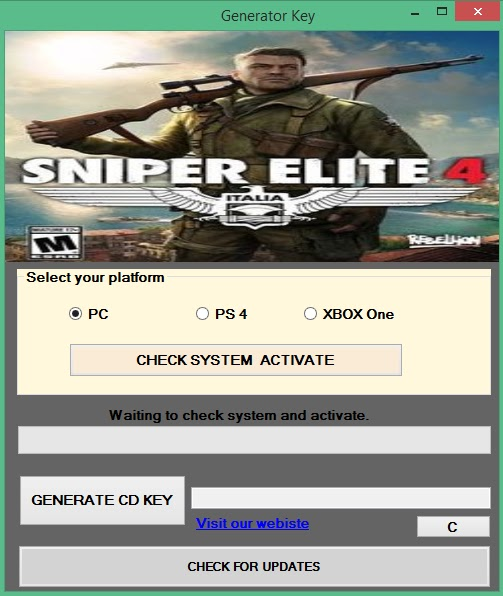 sniper elite 4 pc serial key