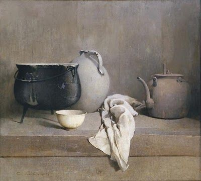 Beautiful still life painting with black cauldron and pottery by Emil Carlsen Soren
