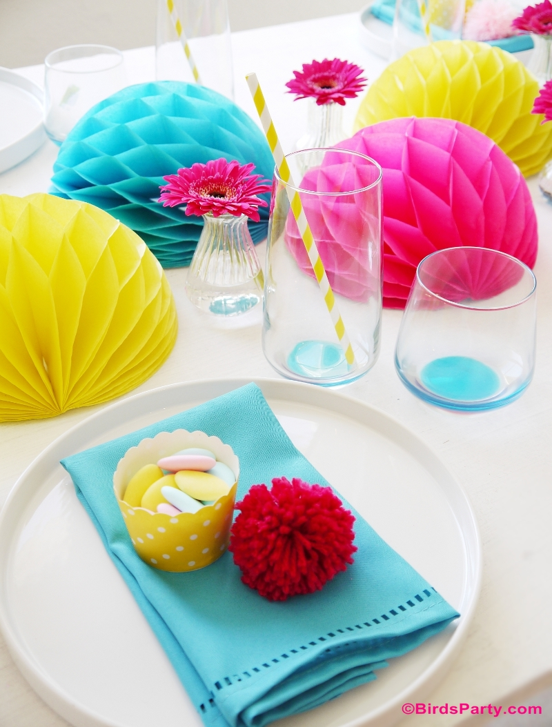 Mother's Day Color Pop Party Tablescape Ideas Mother's Day Color Pop Party Favors and DIY Gifts - BirdsParty.com