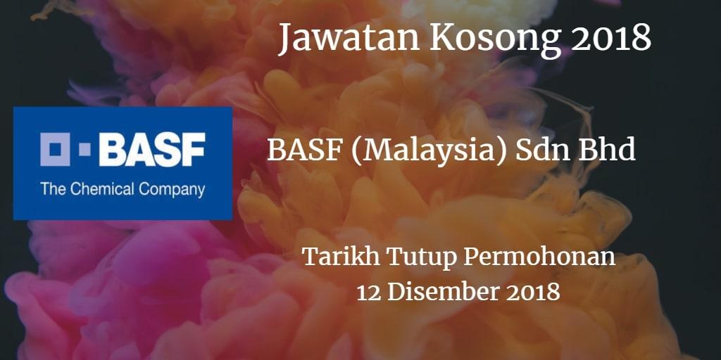 Jawatan Kosong BASF (Malaysia) Sdn Bhd 12 Disember 2018