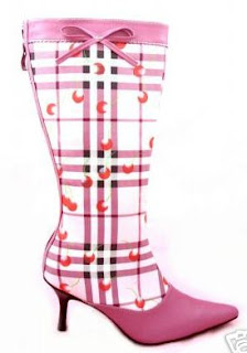 Cherry print knee high boots