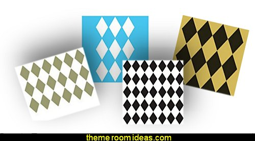 Harlequin pattern Harlequin decor - diamond design  - Harlequin pattern decorating - diamond pattern decor - harlequin stencils - Geometric wall stencils - Harlequin Furniture Stencil  -  Harlequin wallpaper -