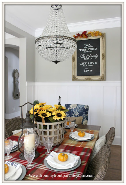 French Farmhouse Style Fall Dining Room-Pottery Barn-Mia Chandlier-Board and Batten Wainscotting-Basket of Sunflowers-From My Front Porch To Yours