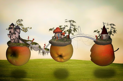 magical apples floating in air bearing tiny houses