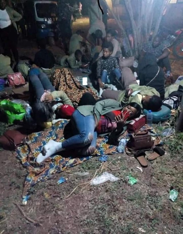 [Photos]: INEC Workers made to sleep on bare floor