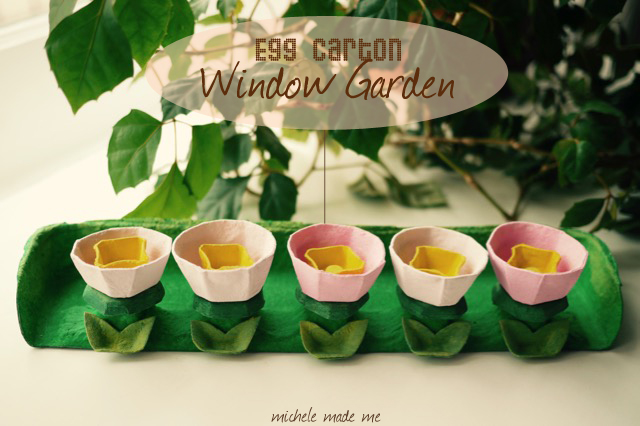 Egg carton kid craft Window Garden tutorial by Michele Made Me for Burnbrae Farms