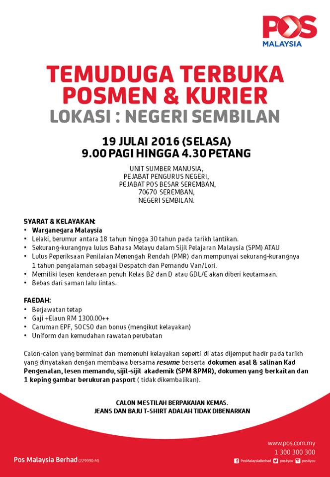 Temuduga Terbuka Pos Malaysia Negeri Sembilan 19 Julai 2016 Jobcari Com Jawatan Kosong Terkini